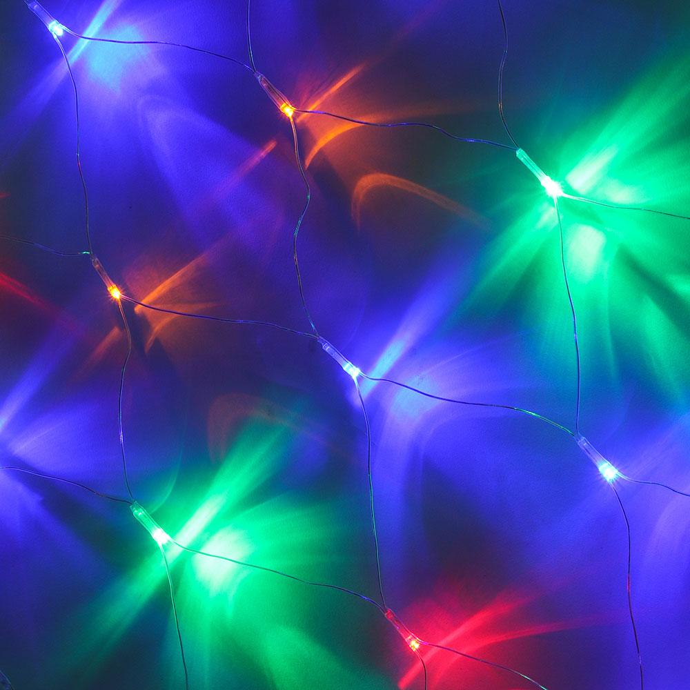 Гирлянда СНОУ БУМ бахрома-сетка 100LED, 2,5х0,5м, мультицвет, 8 реж, прозр.провод 220В