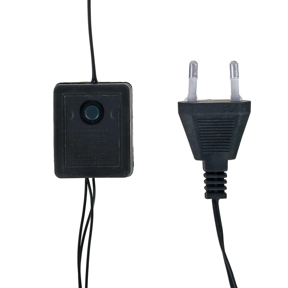 СНОУ БУМ Гирлянда электрическая вьюн 2.5м, 25 ламп,мультицвет, 8 реж, зеленый провод, 220В