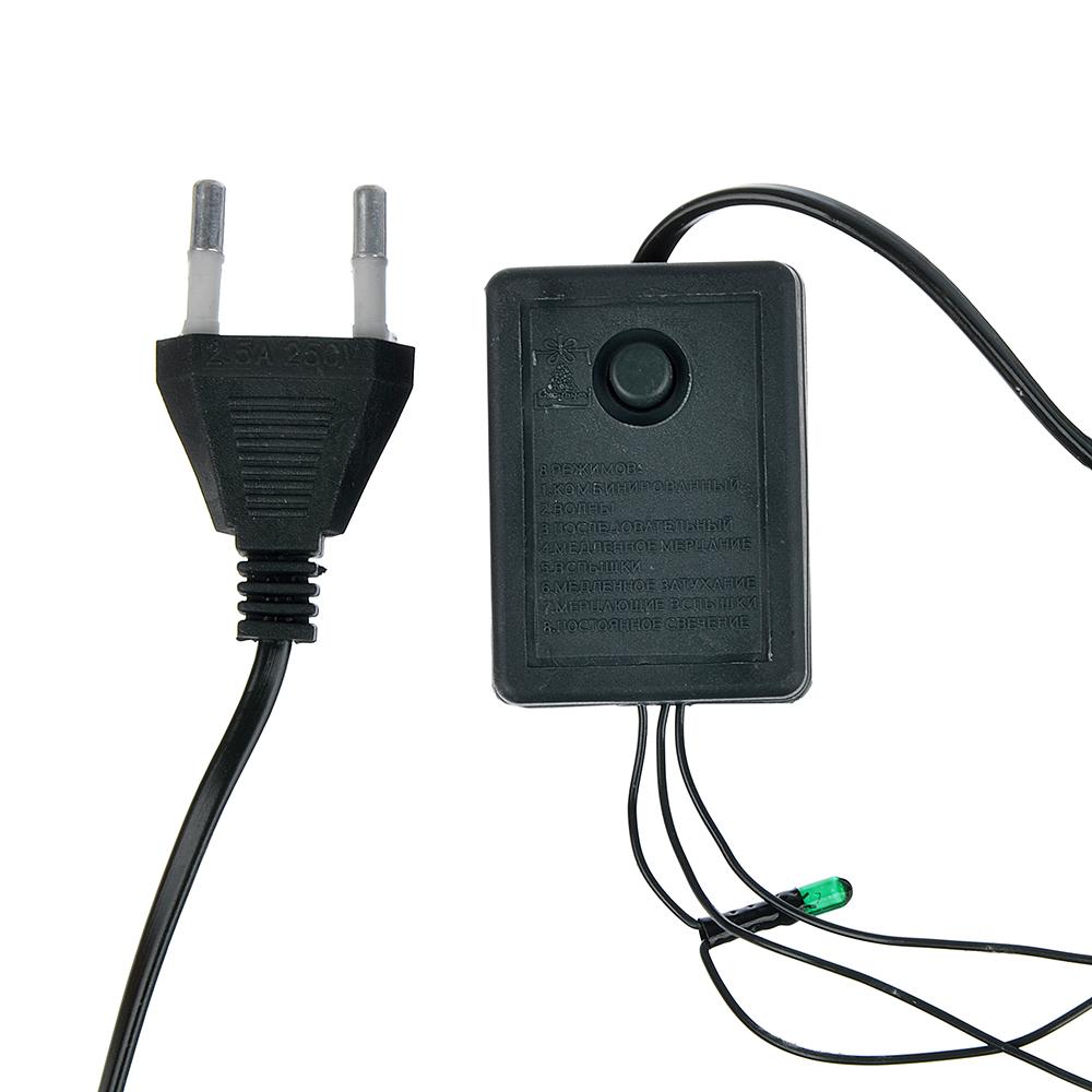 СНОУ БУМ Гирлянда электрическая вьюн 6м, 70 ламп,мультицвет, 8 реж, зеленый провод, 220В