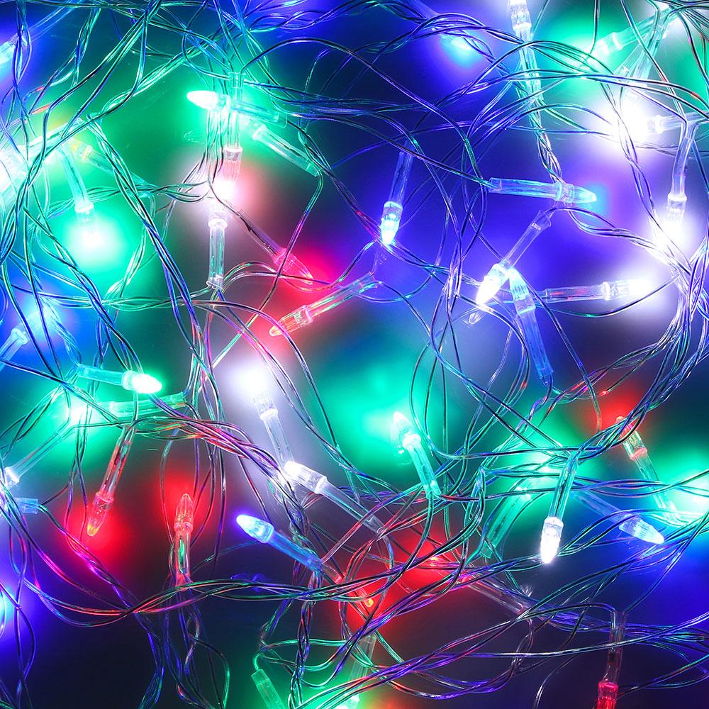 Гирлянда светодиодная Вьюн СНОУ БУМ 9м, 100 LED-Свеча,мультицвет, 8 режимов,  220В