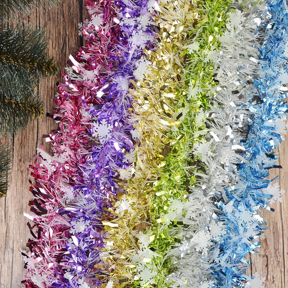 СНОУ БУМ Мишура, со снежинками, 200х9см, ПВХ, 6 цветов