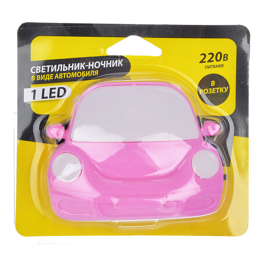 """Светильник-ночник LED в розетку пластиковый, 3 цвета, """"Тачки"""""""