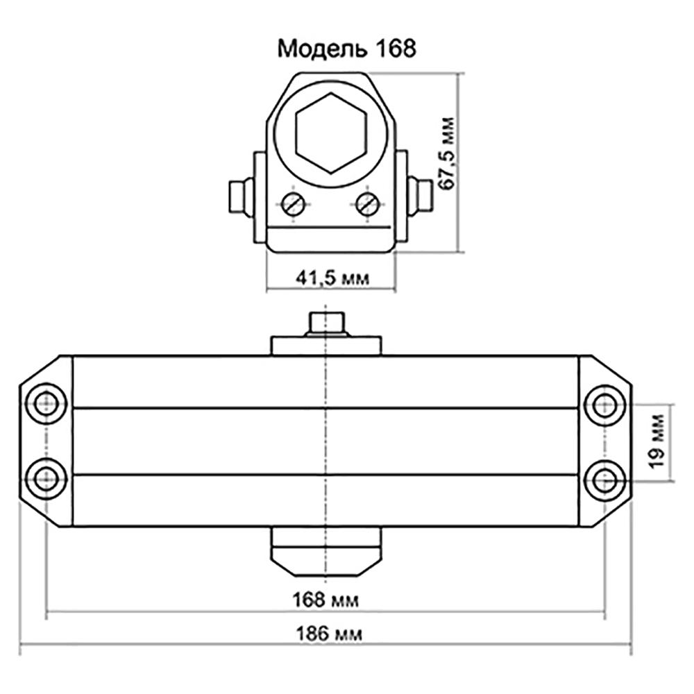 KORAL Доводчик дверной, морозоустойчивый, HD-168 (60-80кг) серебро