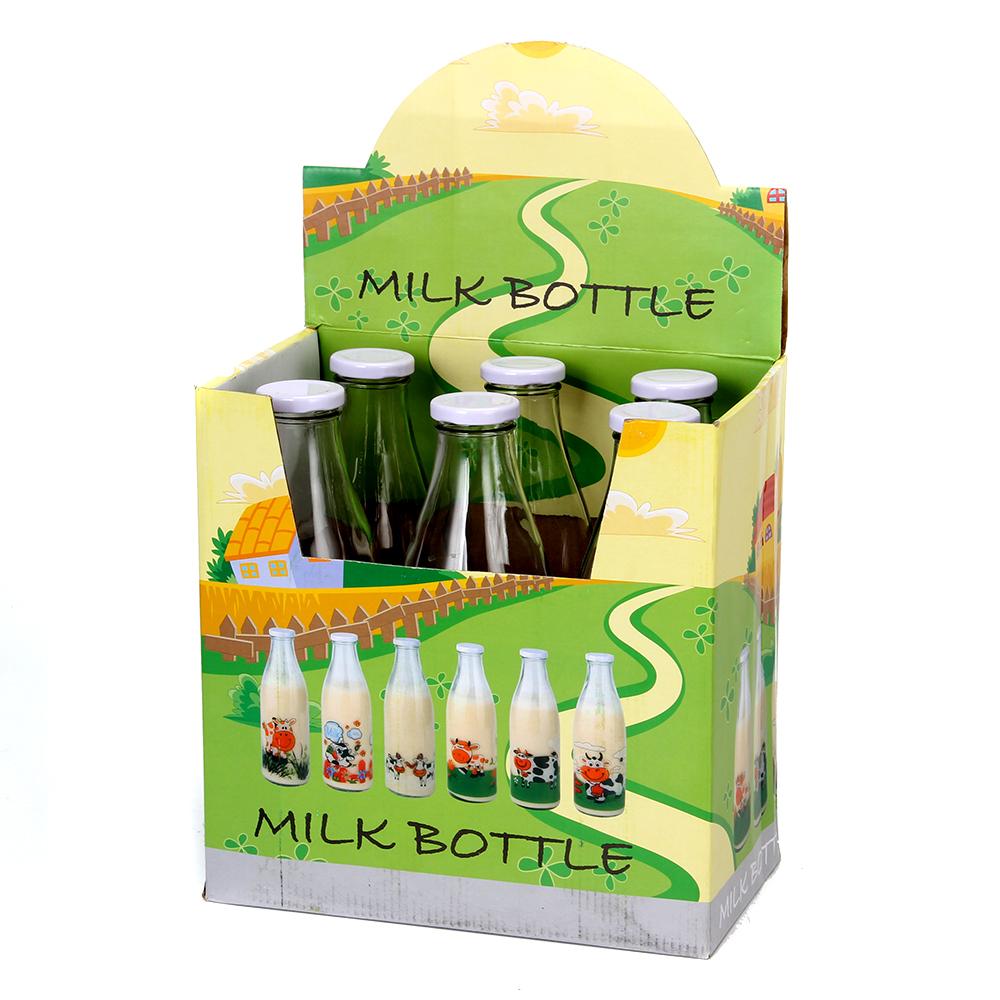 Бутылка для молока, стекло, 900 мл, 6 дизайнов