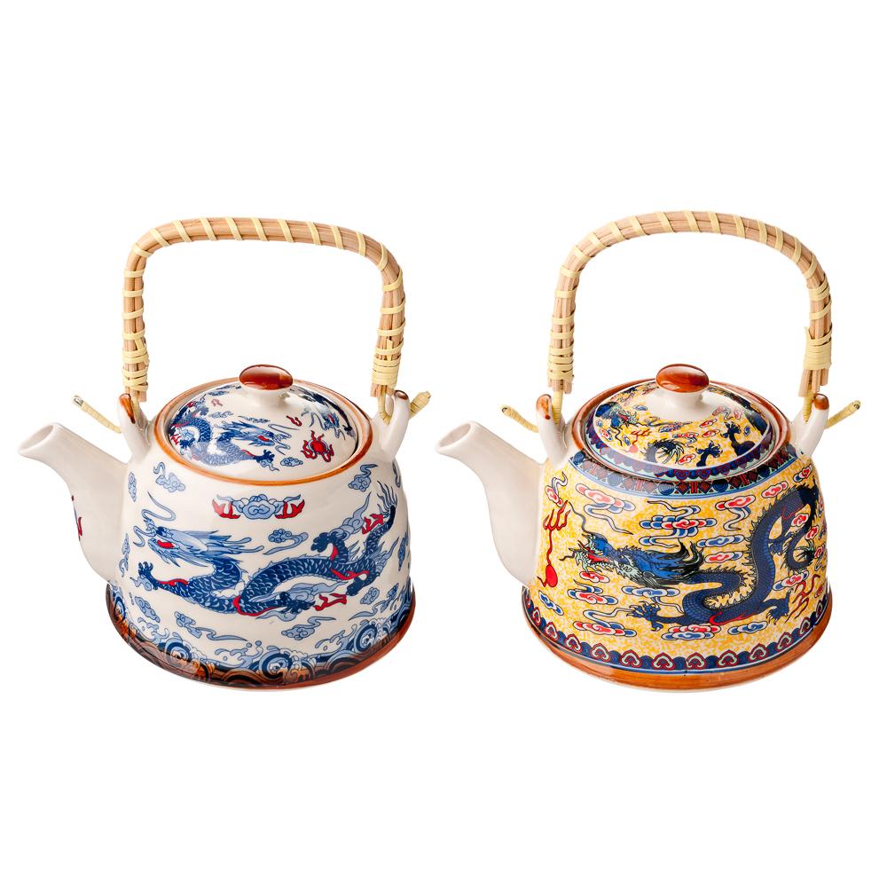 """Чайник заварочный 900 мл с бамбуковой ручкой, фарфор, """"Восточный дракон"""""""