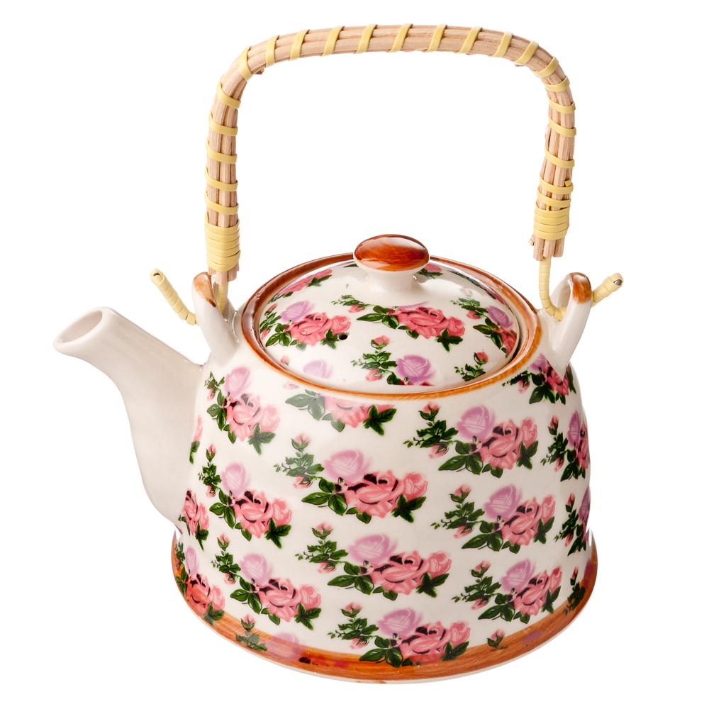 """Чайник заварочный 900 мл с бамбуковой ручкой, фарфор, """"Розы"""""""