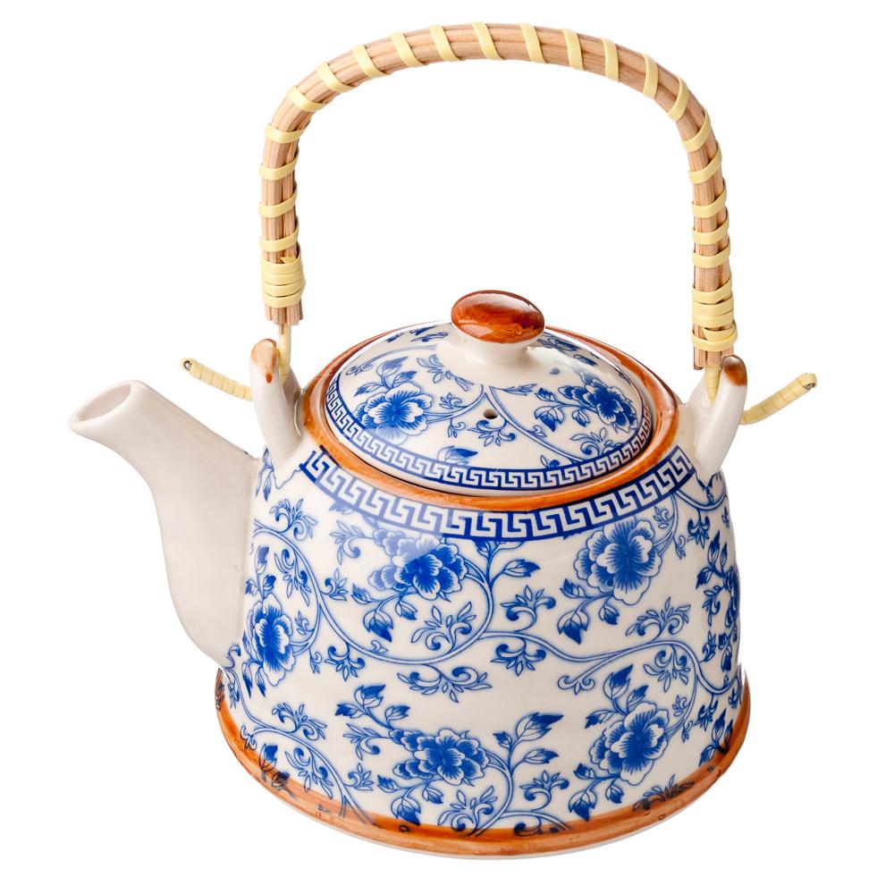 """Чайник заварочный фарфор, 900 мл, с бамбуковой ручкой """"Этно"""""""