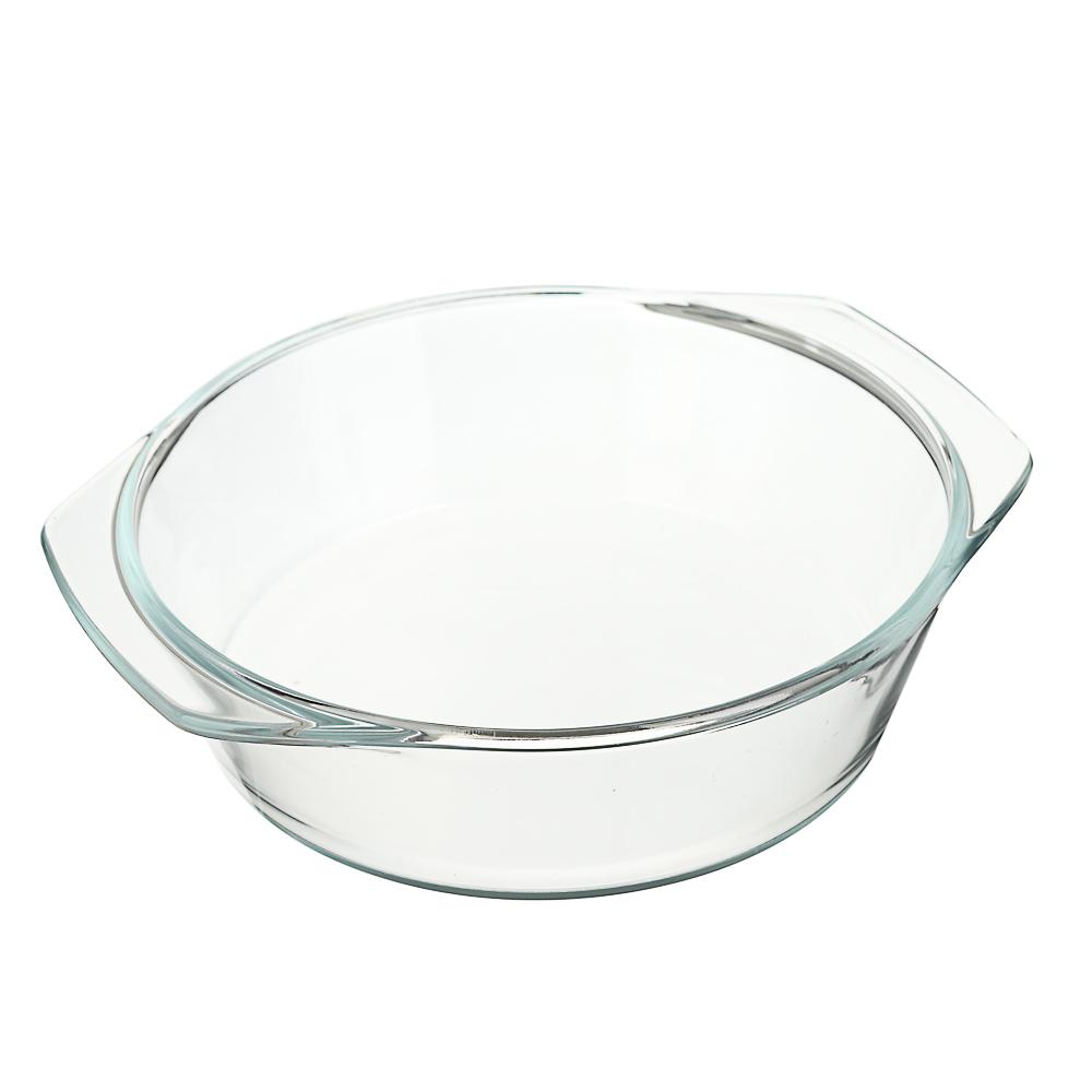 Кастрюля жаропрочная с крышкой, стекло, 1,4л, SATOSHI