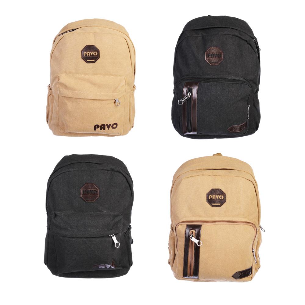 PAVO Рюкзак брезент, ПУ, 42х30х15см, 2 дизайна, 2 цвета, MB2017-23