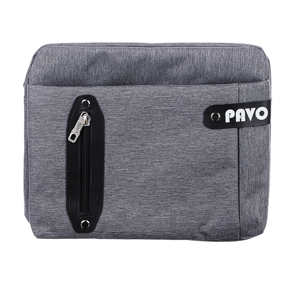 PAVO Сумка мужская, полиэстер, ПУ, 27х20х7,5см, черный, серый, MB2017-32