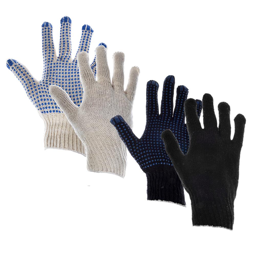 Перчатки вязаные ХБ с ПВХ Точкой, набор 5 пар, 3 Нити, ГОСТ (3п бел +2п черн) 37 гр.пара, 10 р-р
