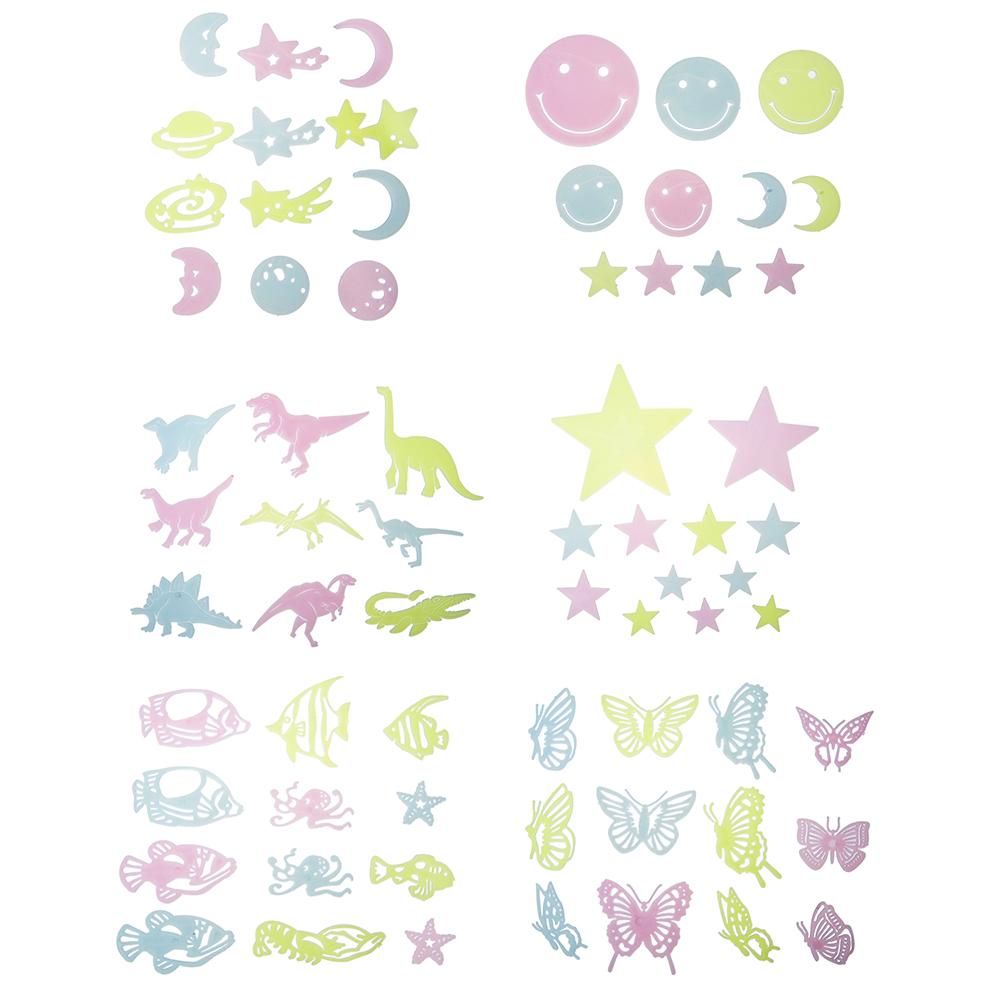Набор наклеек флуоресцентных (9-12 шт), пластик, 19х14см, 6 дизайнов