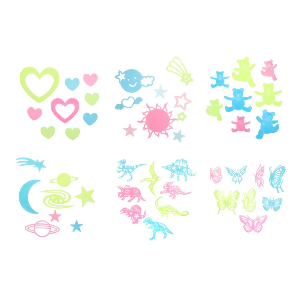 Набор наклеек флуоресцентных (9-10 шт), пластик, 27,5х24,5 см, 6 дизайнов