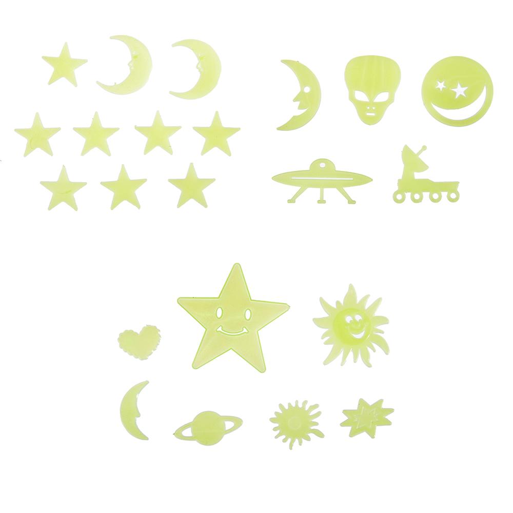 Набор наклеек флуоресцентных (5-10 шт), пластик, 9,5х8см, 3 дизайна
