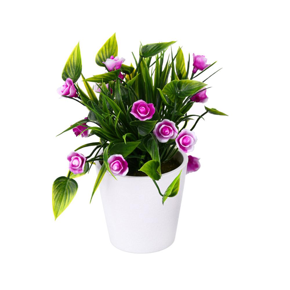 Цветок искусственный в горшке, 18х12х12см, пластик, 3 цвета
