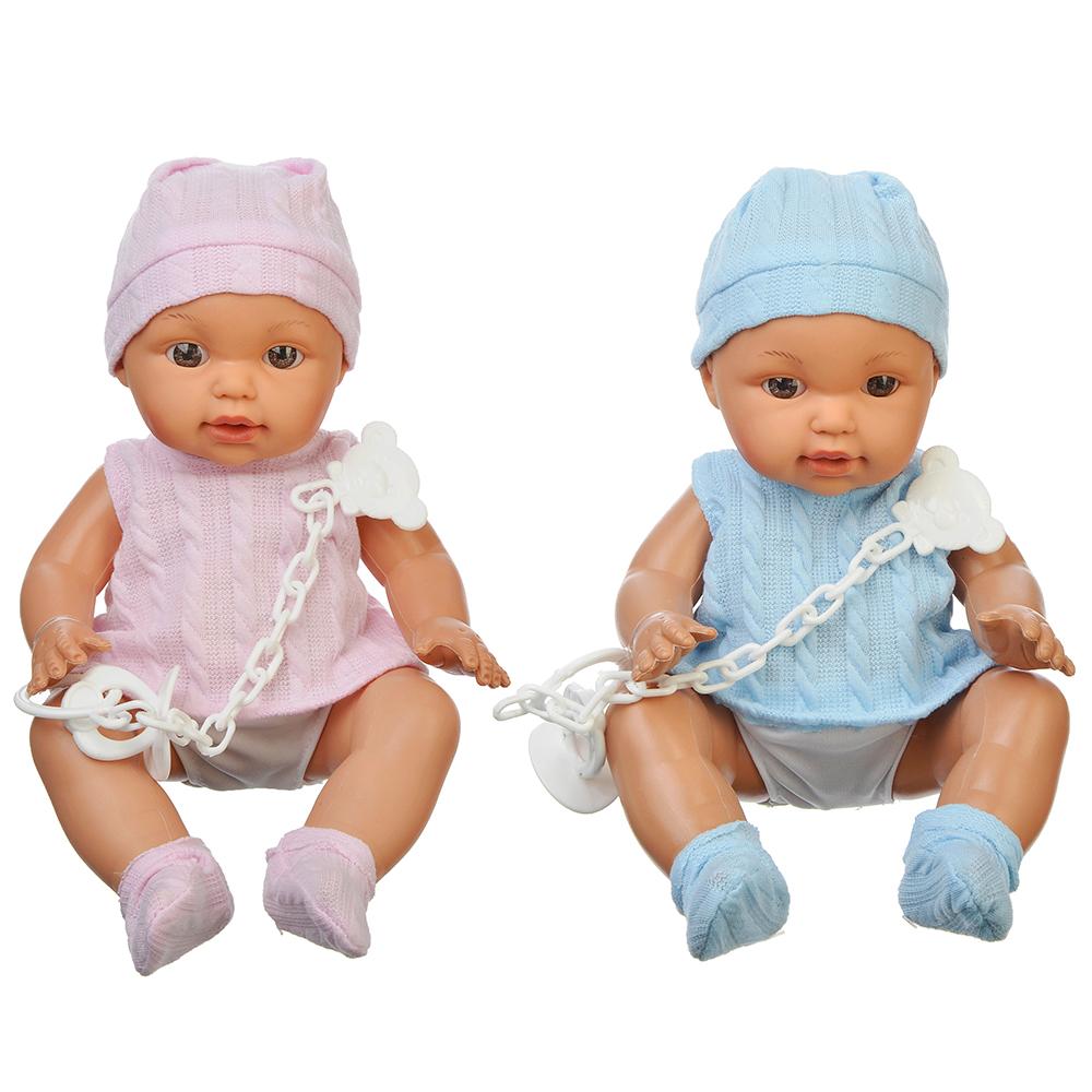 ИГРОЛЕНД Кукла функциональная с аксессуарами, 12 звуков, пьет, пластик, текстиль, 30см, 2 дизайна