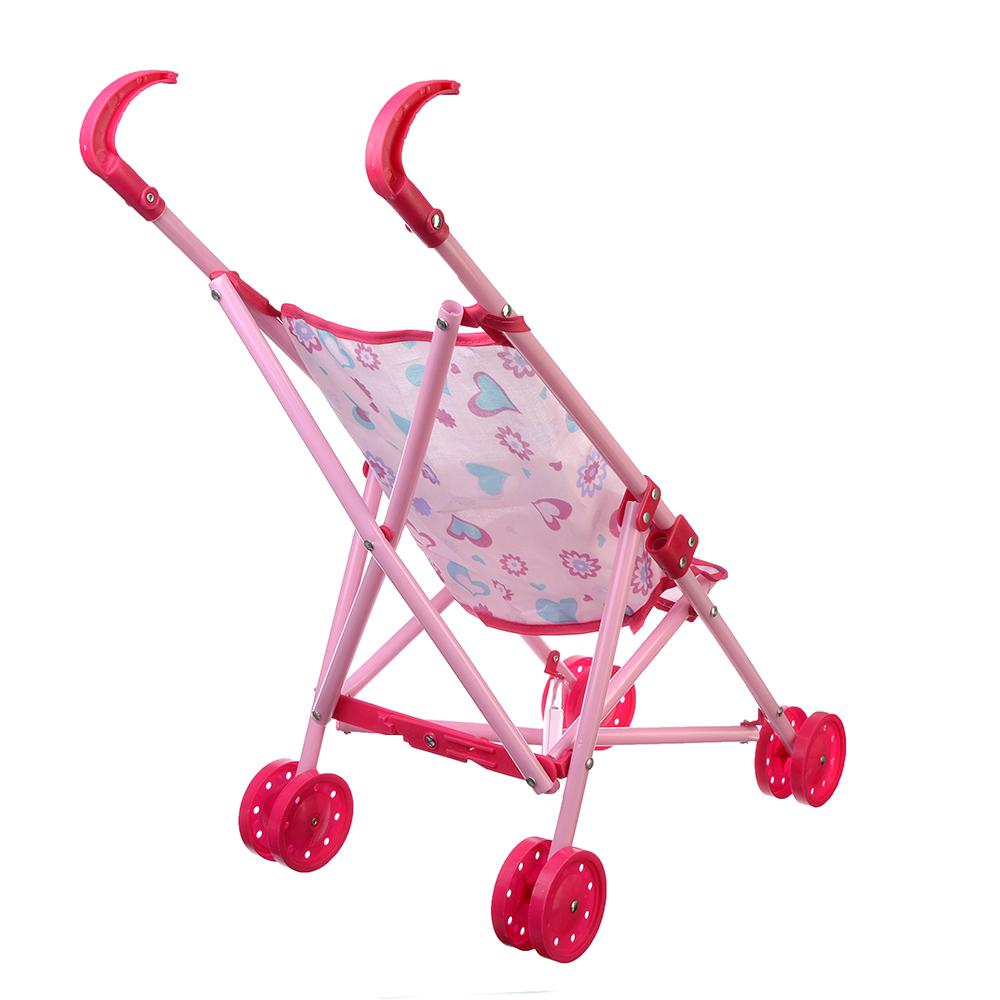 ИГРОЛЕНД Коляска для кукол прогулочная розовая, пластик, текстиль, 47,5х20х37см, 200058993