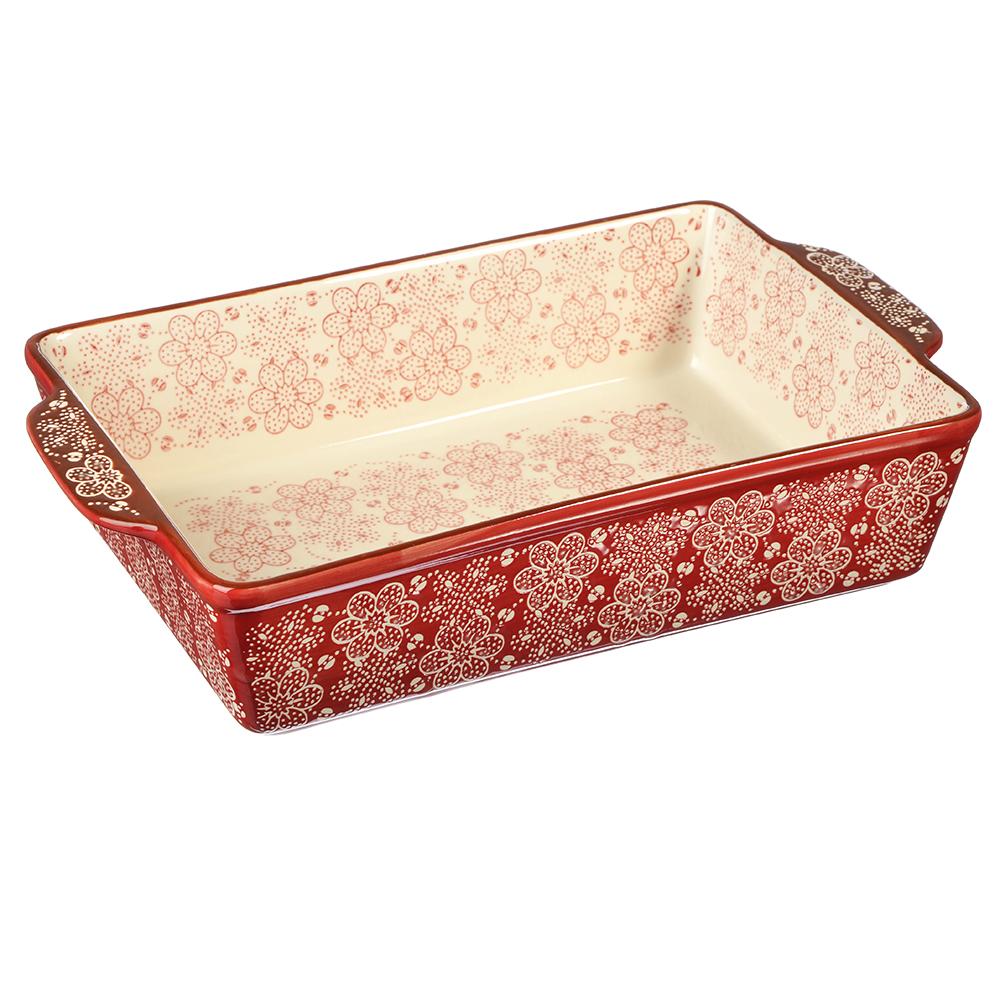 MILLIMI Форма для запекания и сервир. прямоуг. с ручками, керамика, 31х20х6,5см, красная, новая