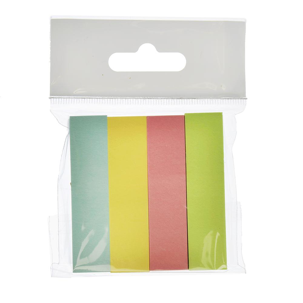 Закладки с клеевым краем, 4 штуки по 100 листов, 4 цвета