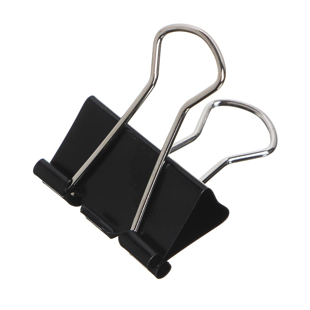Набор зажимов для бумаг ClipStudio металлические 25 мм, 12 штук, цвет: черный