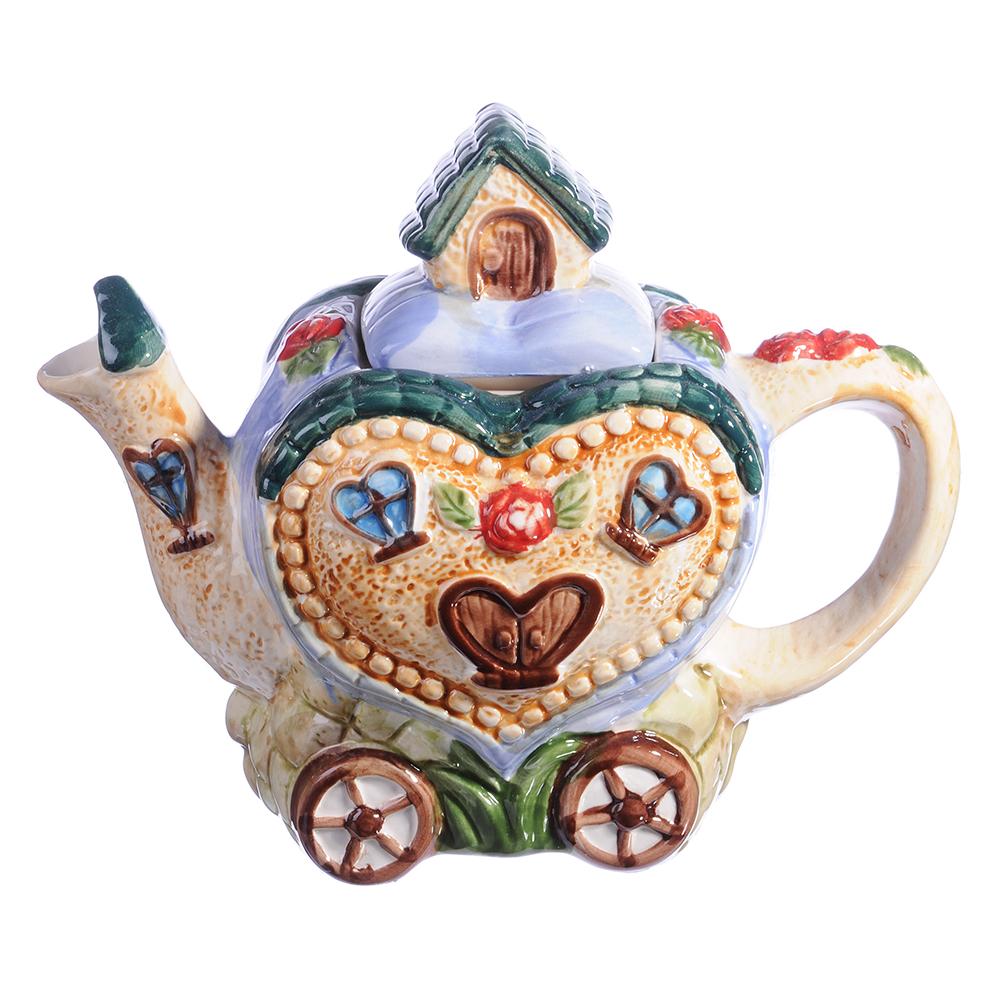 "Домики Чайник заварочный, керамика, 600мл, ""Домик-сердце"""