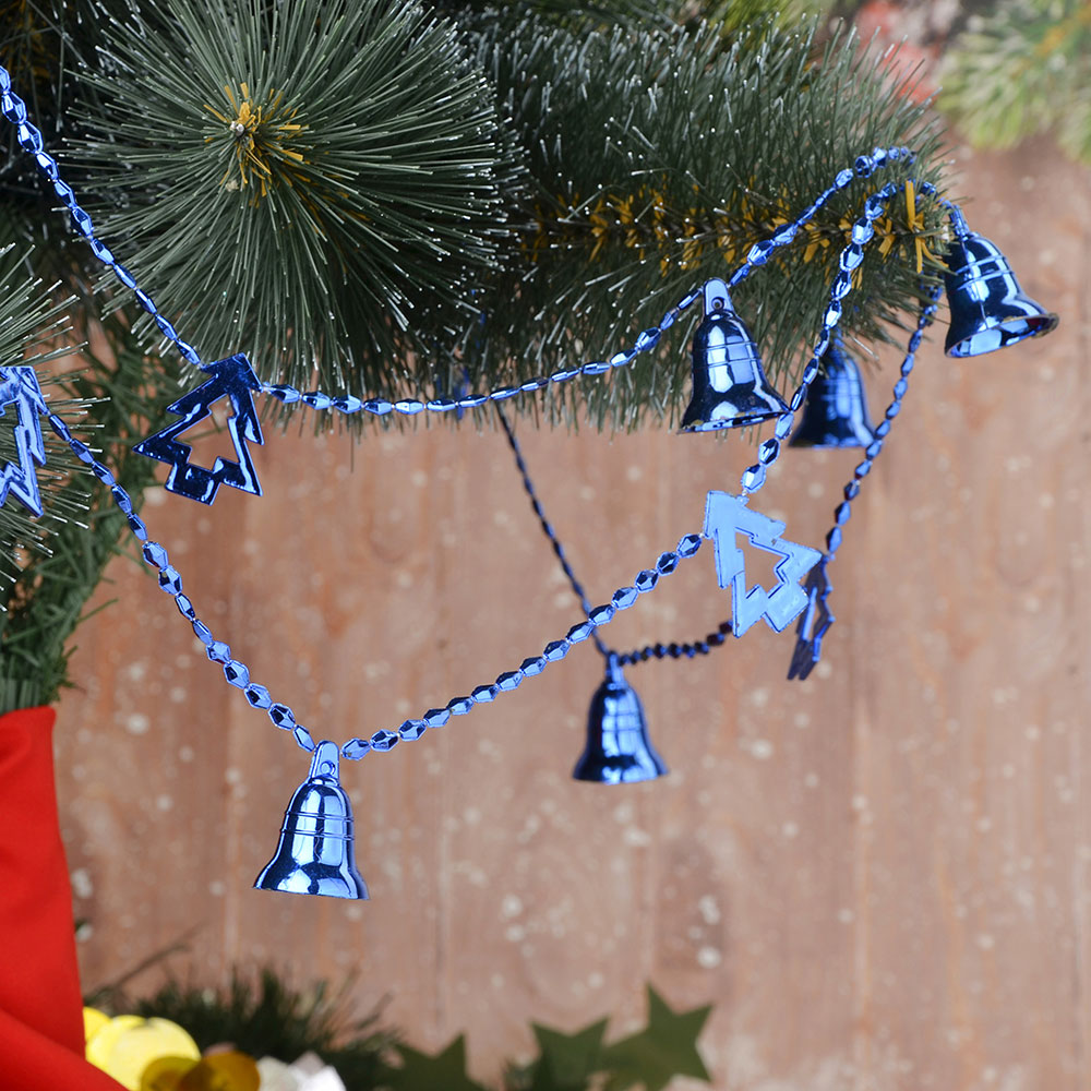 Бусы на елку СНОУ БУМ пластик, 200 см, колокольчики и елочки, 6 цветов