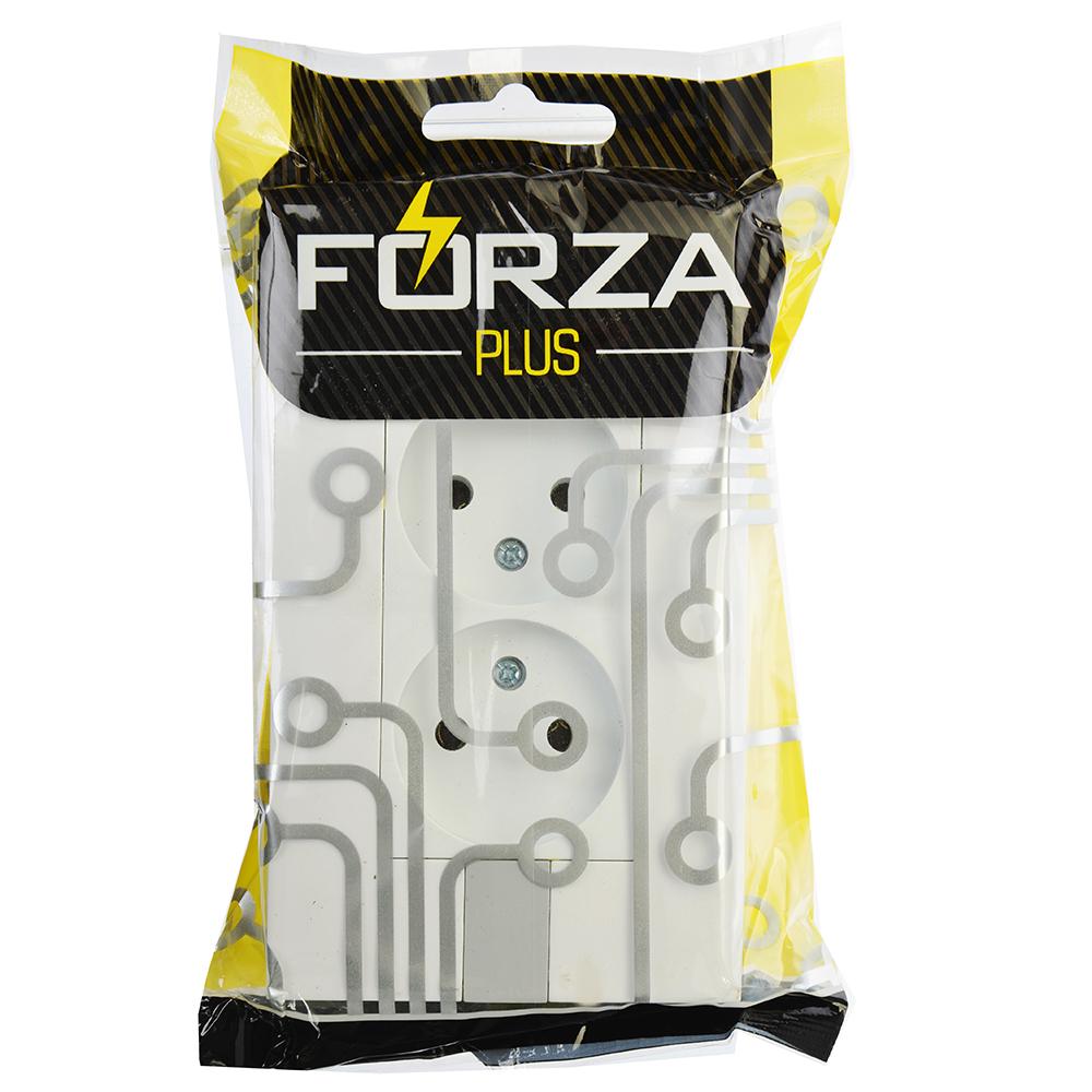 FORZA МОДЕРН Розетка двухместная без заземления, цвет белый с серым 16А 250В, пластик ABS