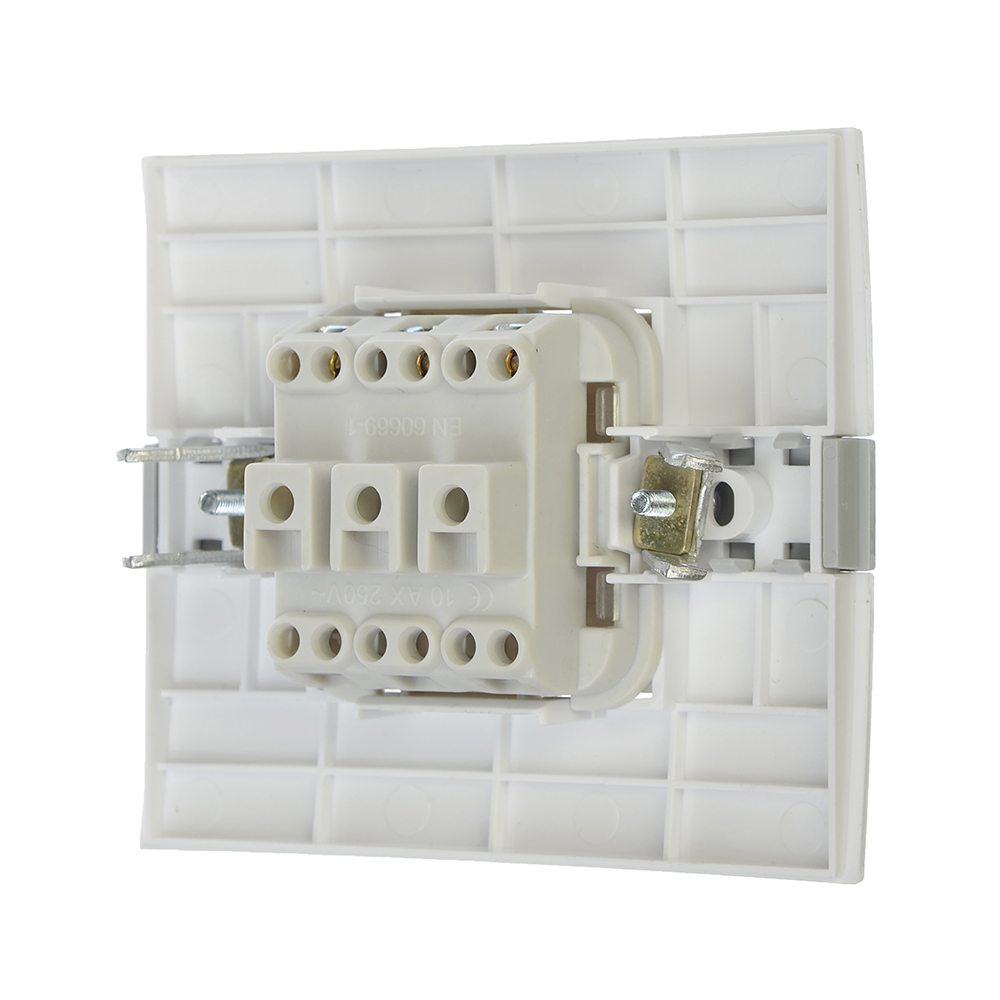 FORZA МОДЕРН Выключатель двухклавишный, цвет белый 10А 250В, пластик ABS