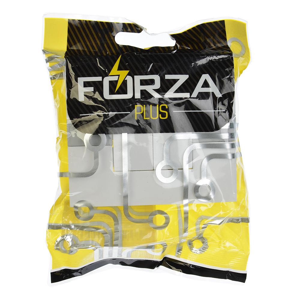 FORZA МОДЕРН Выключатель двухклавишный с подсветкой цвет белый 10А 250В, пластик ABS