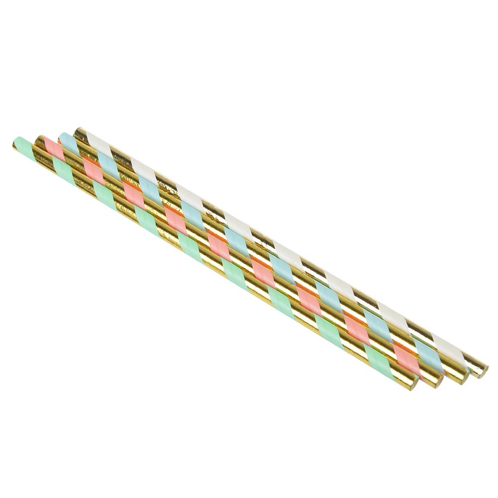 Набор бумажных трубочек 6шт, 4 цвета, Праздничный