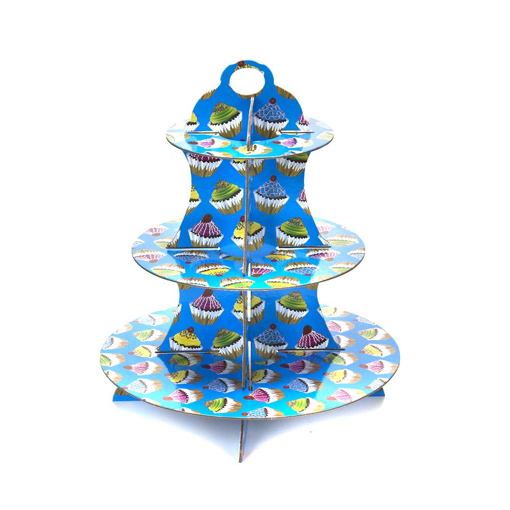 Подставка для пирожных трехъярусная, бумага, 35х30х30см, 2 дизайна