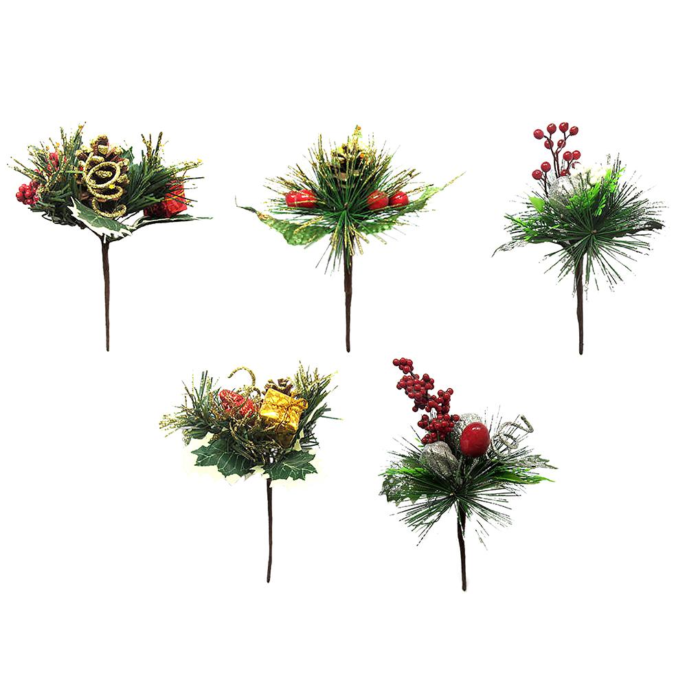 СНОУ БУМ Украшение декоративное, пластик, красные ягоды, глиттер, 5 дизайнов