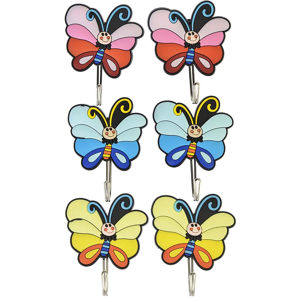 """ВЕСЕЛЫЙ РОДЖЕР Крючки самоклеящиеся на блистере, 2 шт, резина, металл, """"Бабочки"""", 3 цвета"""