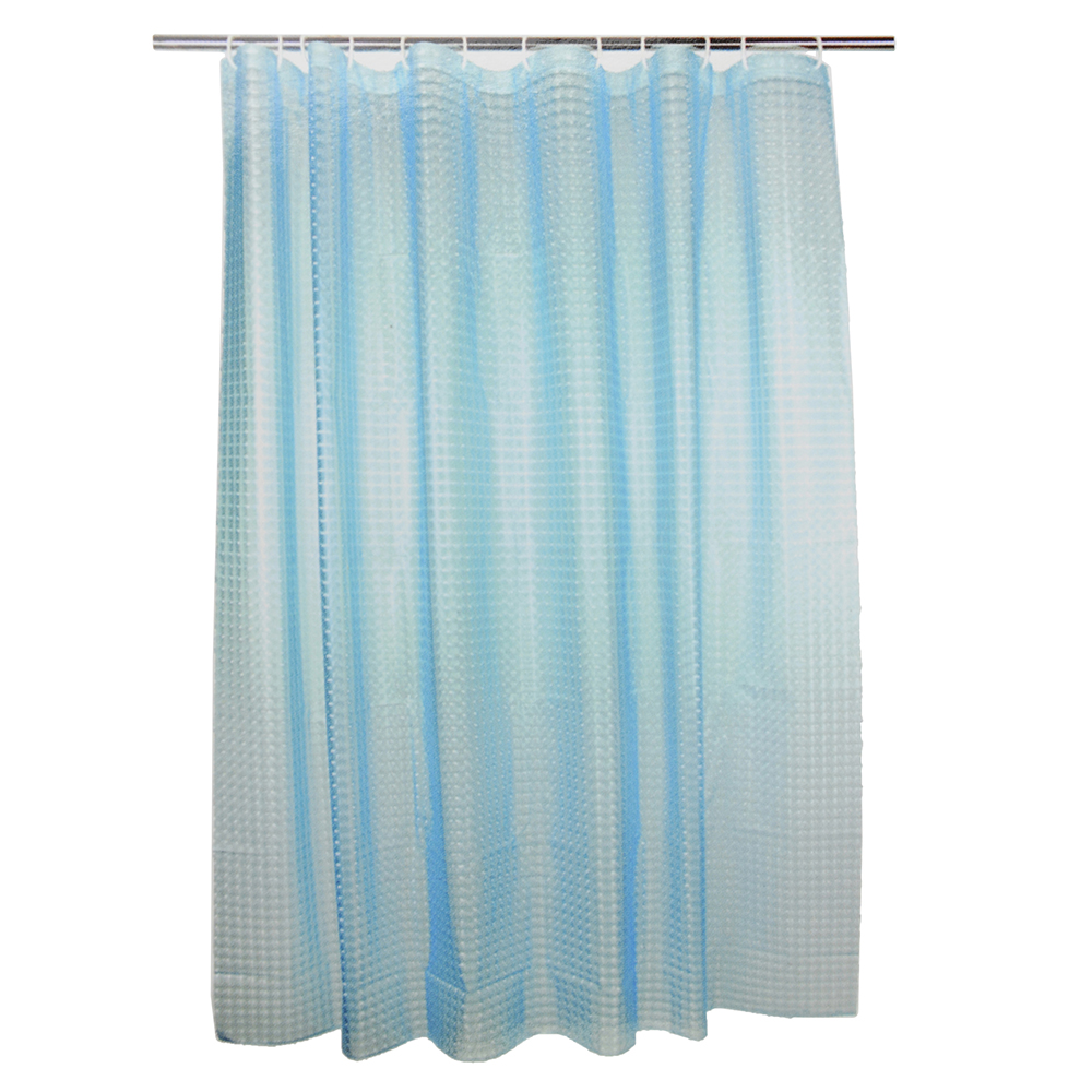 VETTA Шторка для ванной, винил, 180x180см, 12 колец, 3D, квадрат, голубой