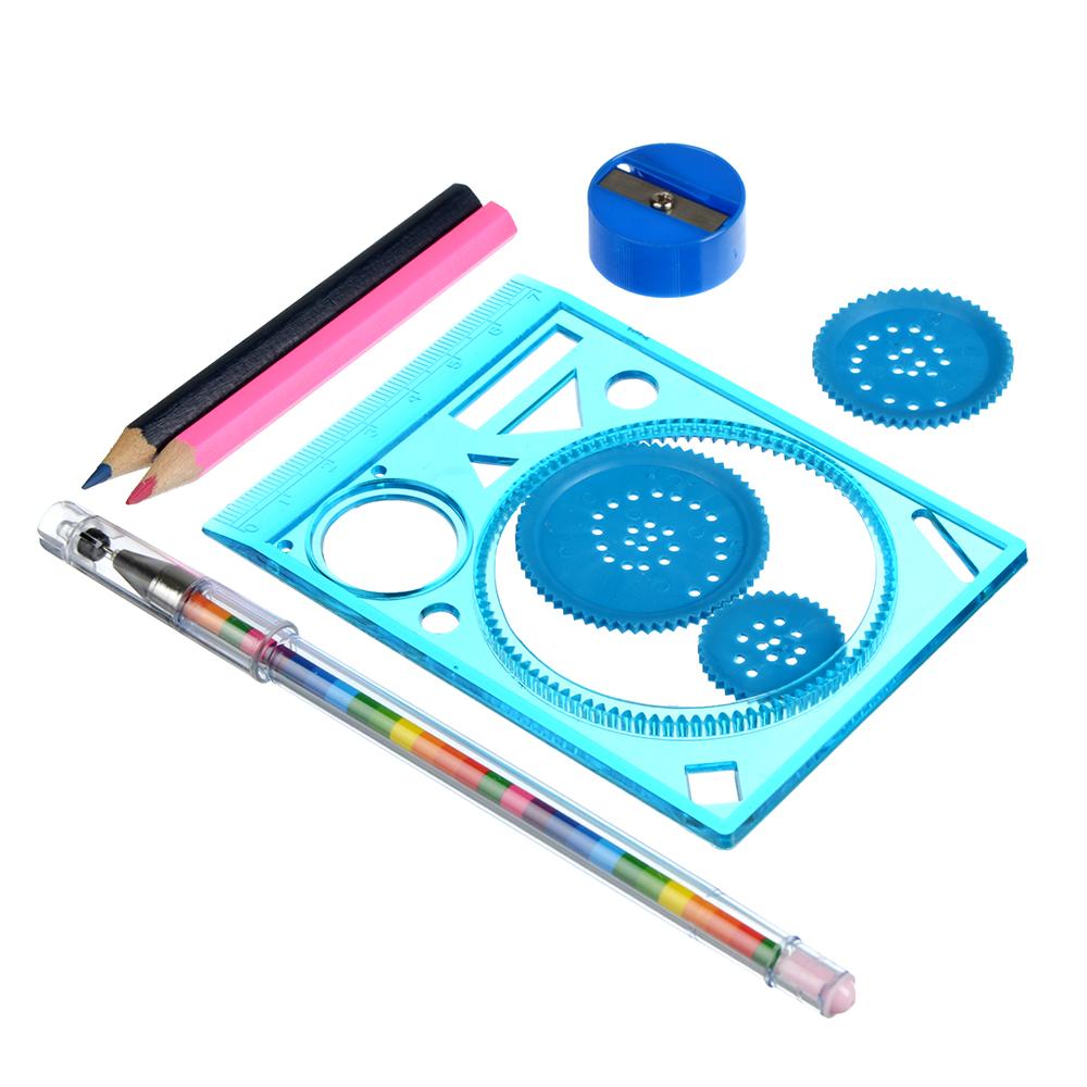 Набор для рисования (спирограф, 2 карандаша, точилка, ручка), пластик, 3 цвета