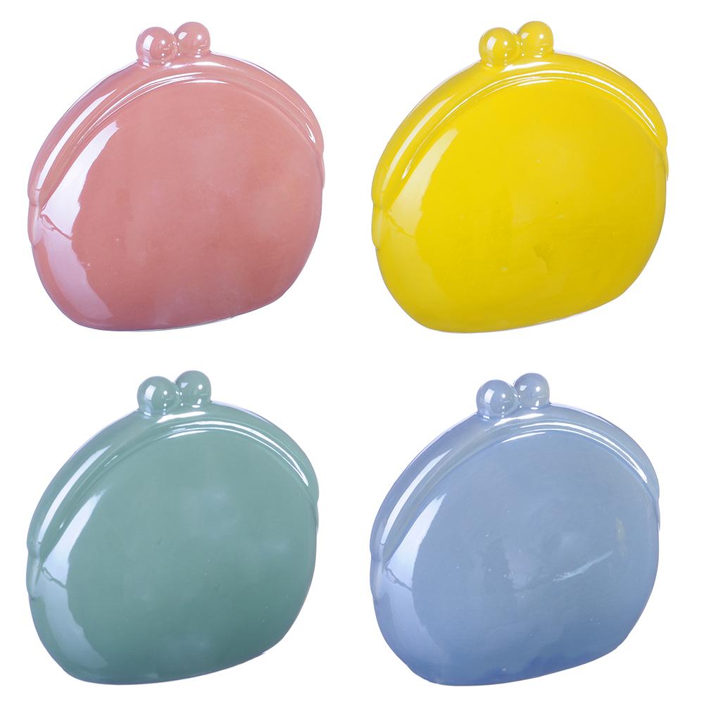 Копилка в виде кошелька, керамика, 13,5х7,5х12,5см, 4 цвета