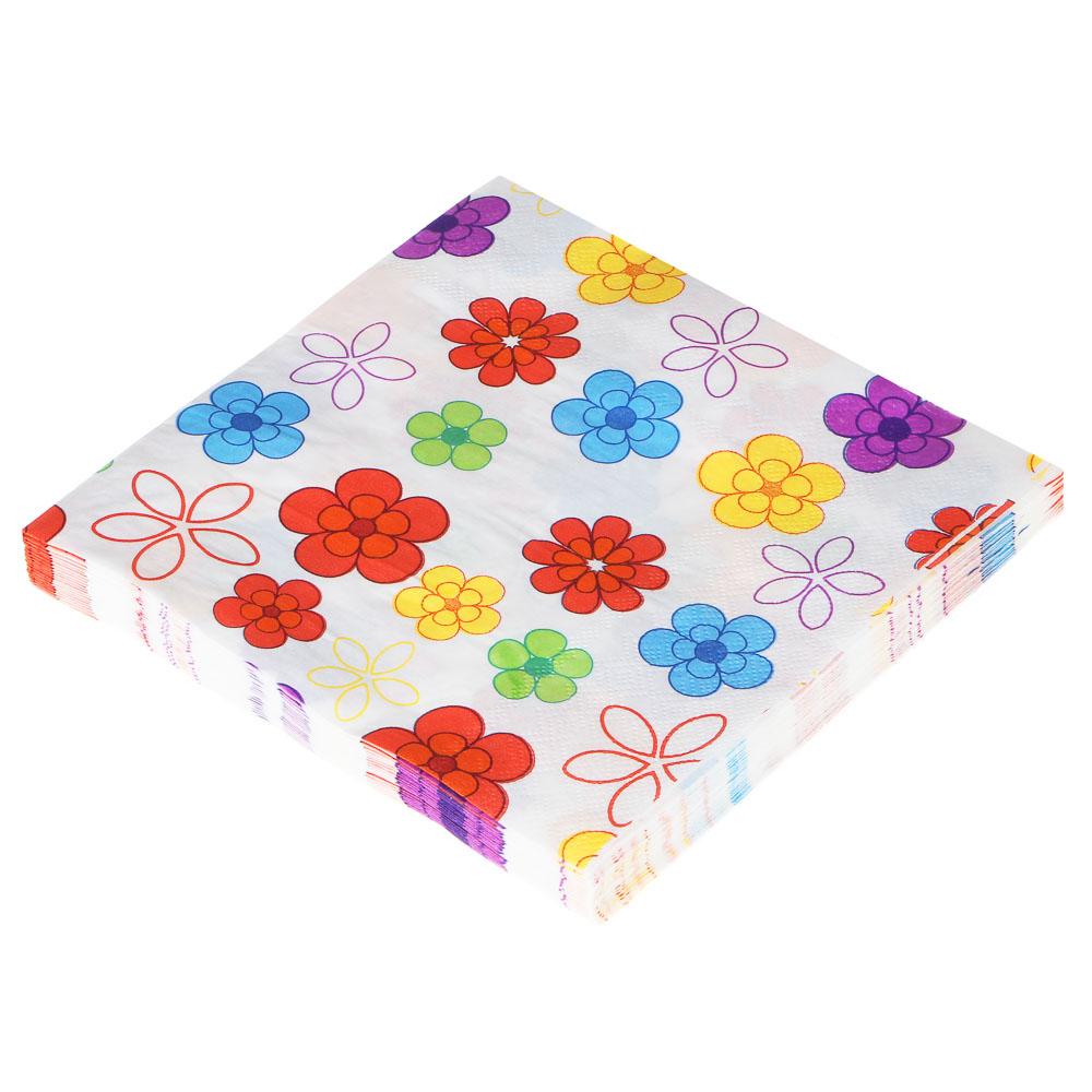 """Салфетки бумажные двухслойные 20 шт, 33x33 см, """"Орнамент"""", 3 дизайна"""