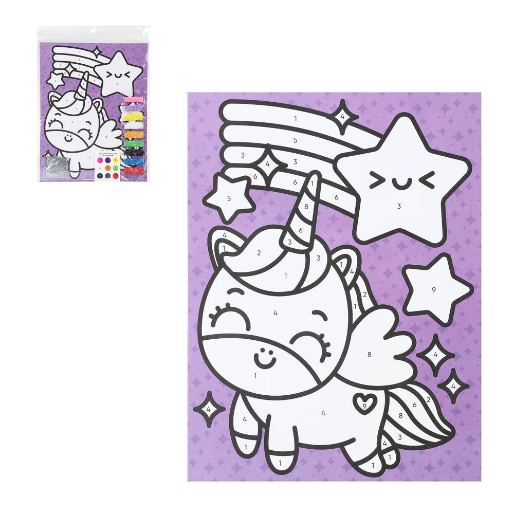 """Фреска из песка с цветным фоном """"Микс"""", бумага, песок 8-10цв., 21,5х31,5см, 6-8 дизайнов"""
