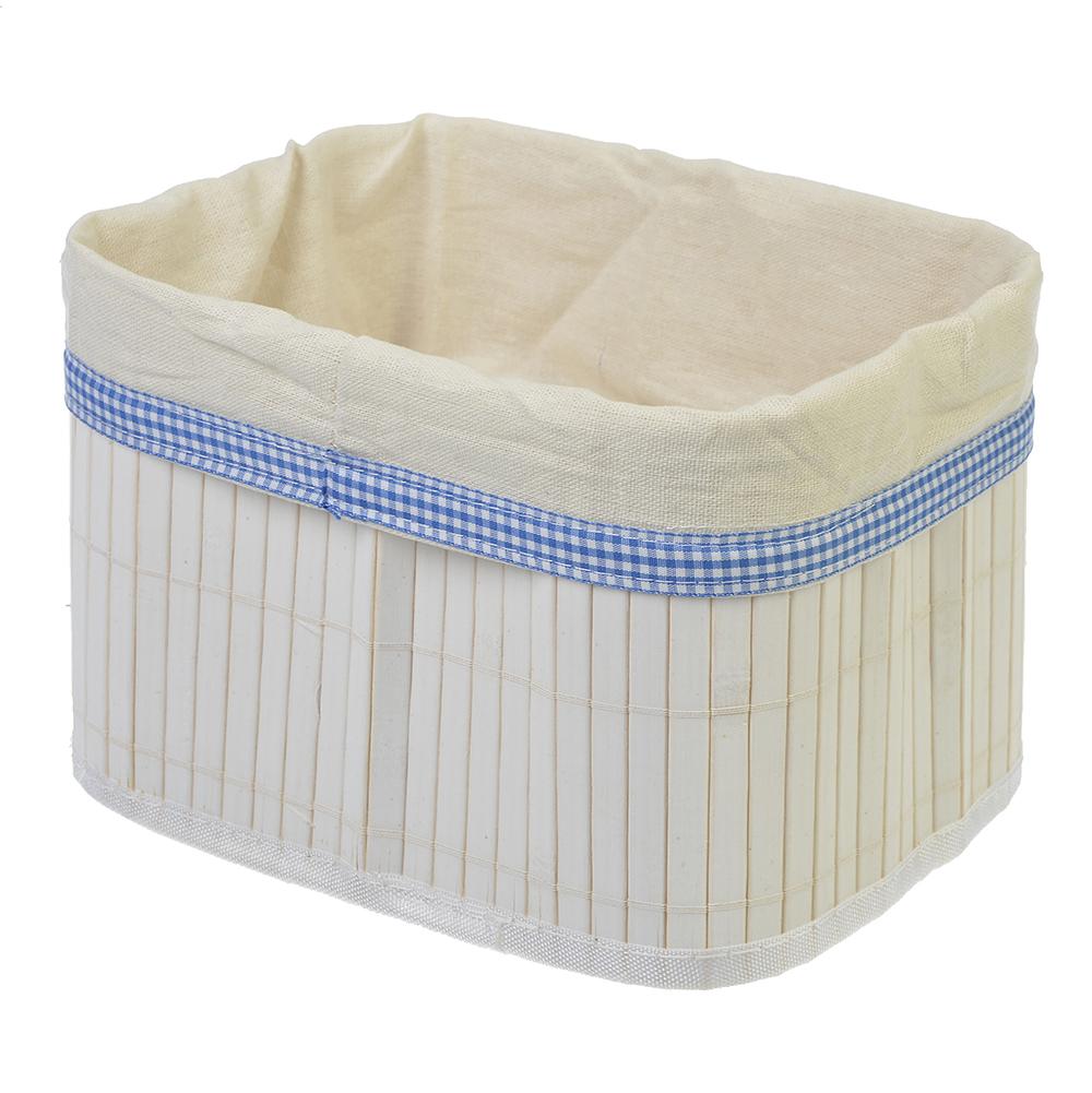 VETTA Коробка для хранения складная, бамбук, 22х16х14см белая