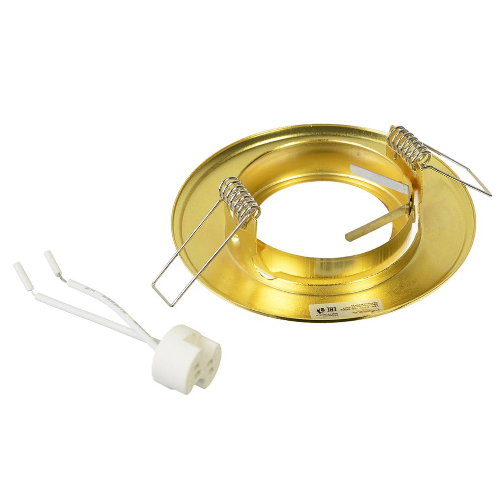 FORZA Светильник встраиваемый с рег.угл. №8 лампа MR16 цоколь GU 5.3 металл d90мм, золотой, круглый