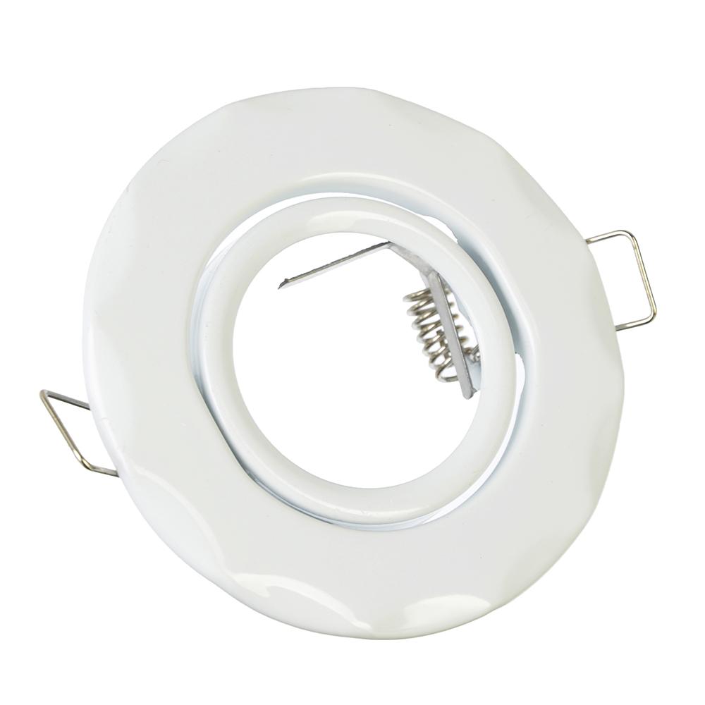 FORZA Светильник встраиваемый №5 Волнообразный, с рег. угл., лампа MR16, GU 5.3 металл d90 белый