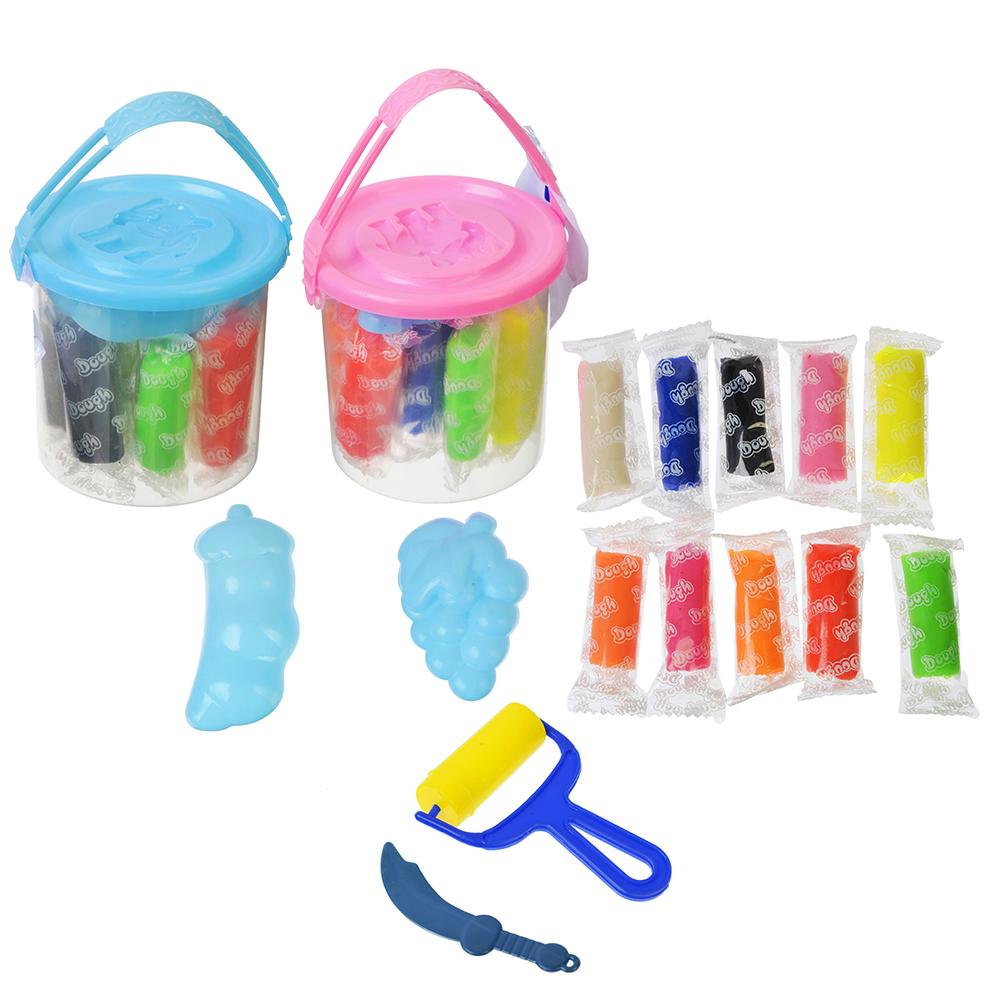 ХОББИХИТ Набор теста для лепки, 10 цветов по 6г + пластик 3 предмета, 2 цвета