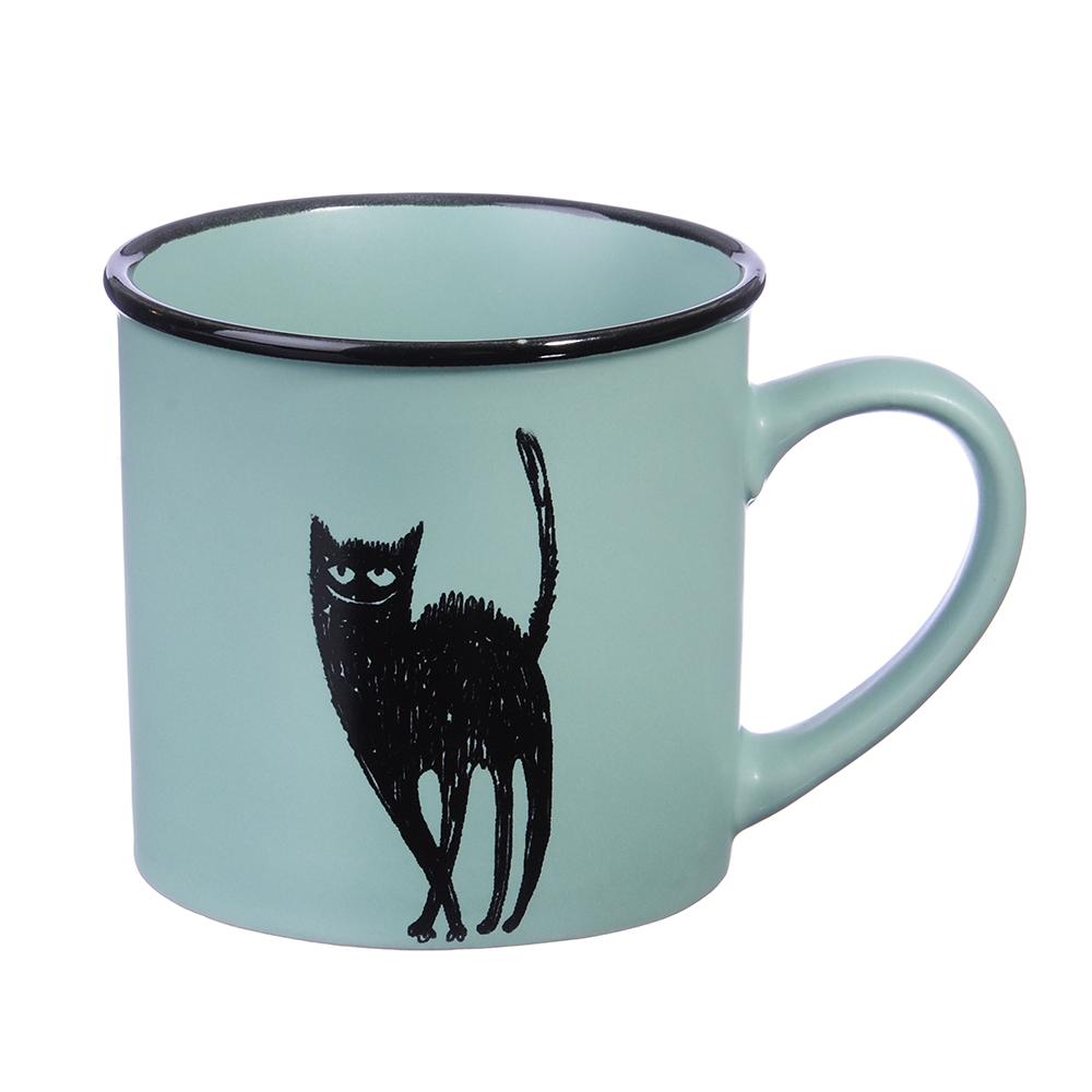 """Кружка керамическая, 320 мл, 4 цвета, """"Черный кот"""""""