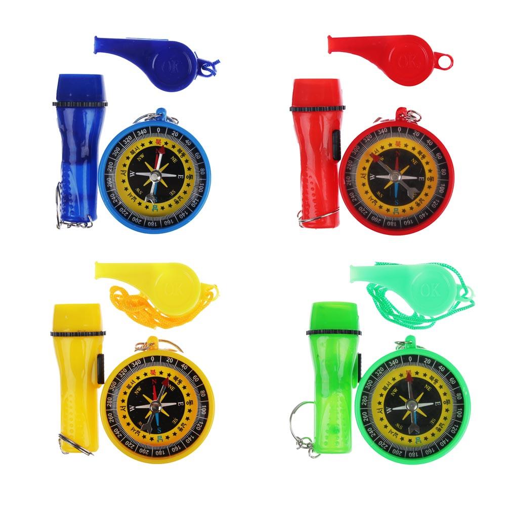 Набор игровой (компас, фонарик, свисток), пластик, уп.9,5х13см, 4 цвета