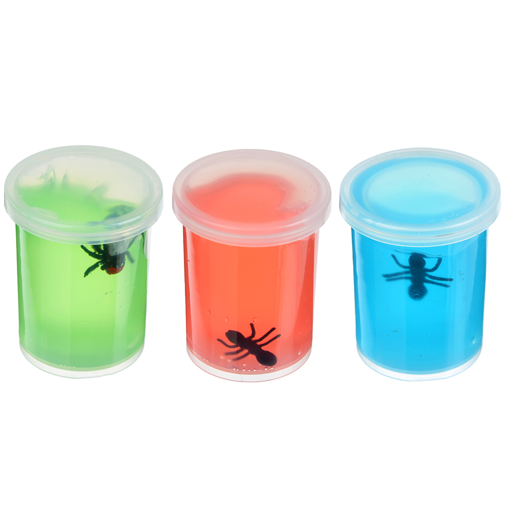 LASTIKS Игрушка-лизун в баночке жидкий с насекомым, полимер, пластик, 4,5х4,5х5см, 2-4 цвета