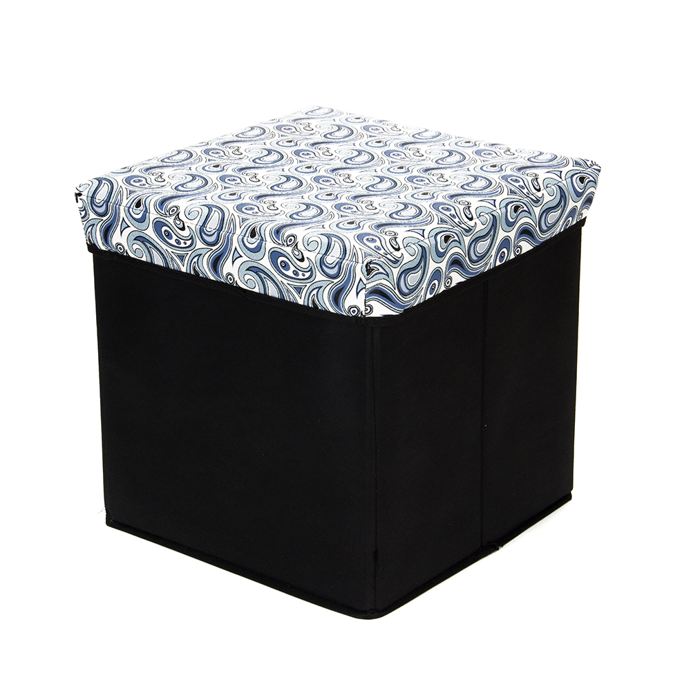 Пуфик-куб складной, ПУ, спанбонд, картон, 31х31х31см, до 80 кг, Пэйсли