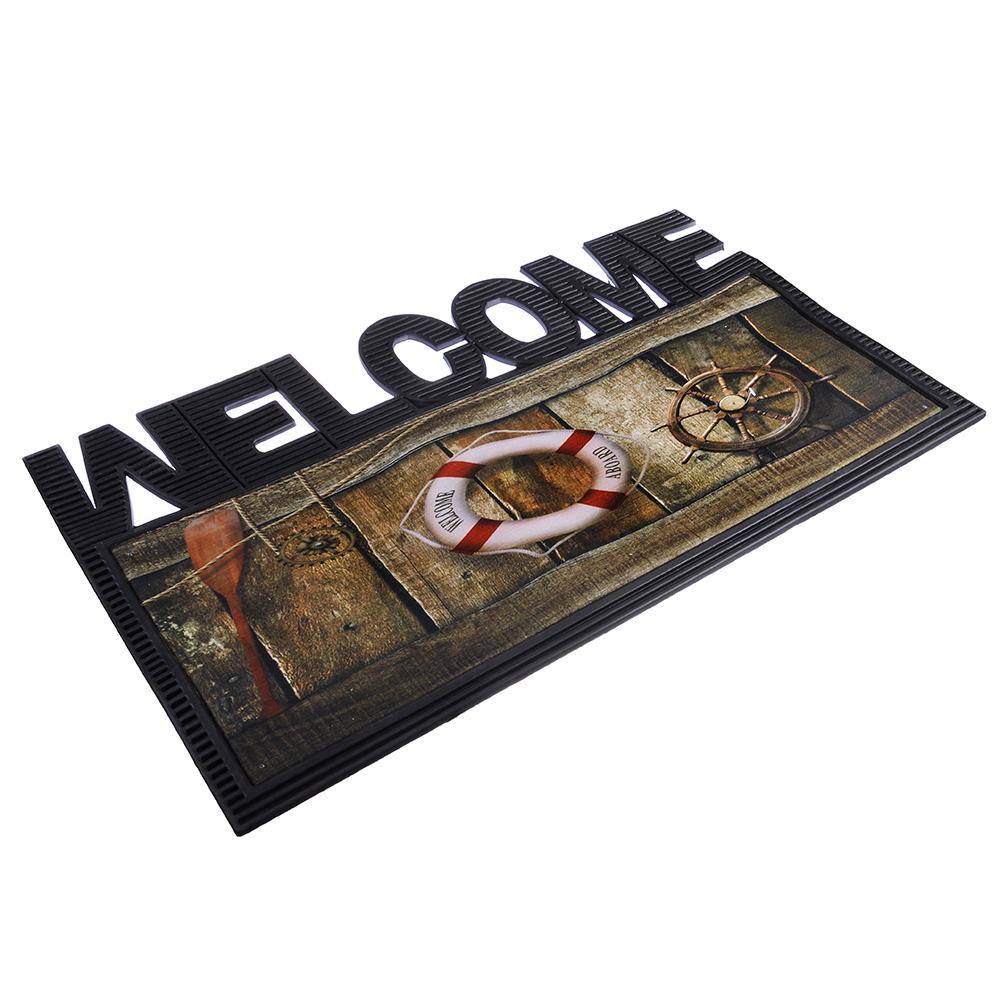 VETTA Коврик придверный, резиновый с ворсом полиэстер, 40x70см, фигурный, с принтом, 2 дизайна
