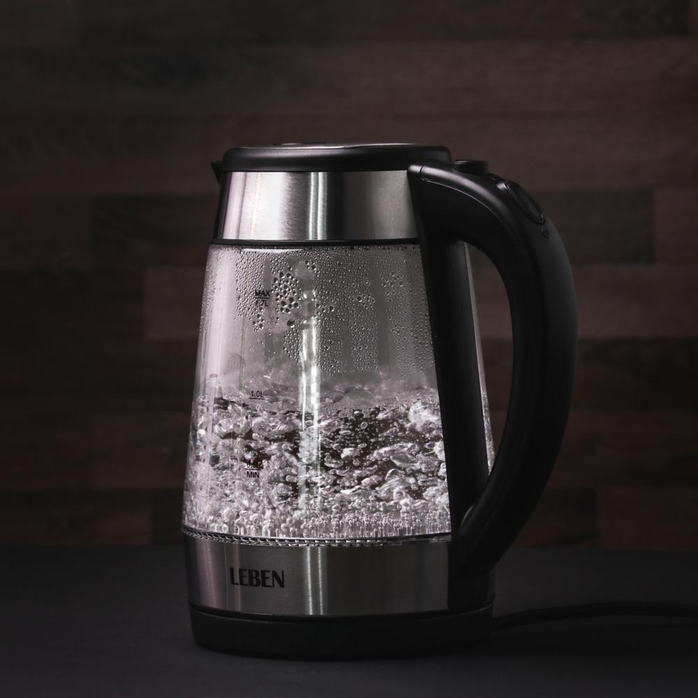 LEBEN Чайник электрический 1,7л, 1850Вт, скрытый нагр.элемент, автооткл., стекло