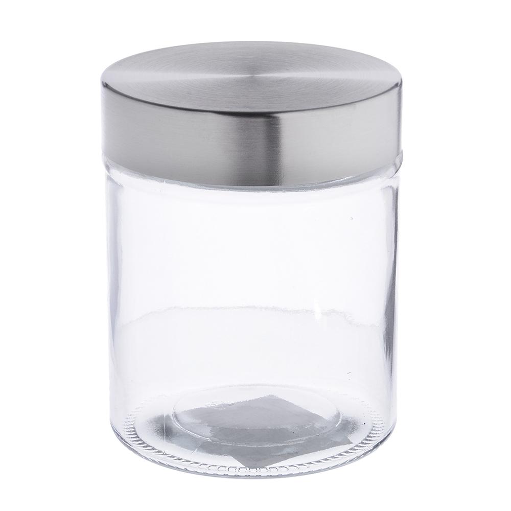 Банка для сыпучих продуктов, стальн. крышка, стекло, 700мл, 02-1088G-13