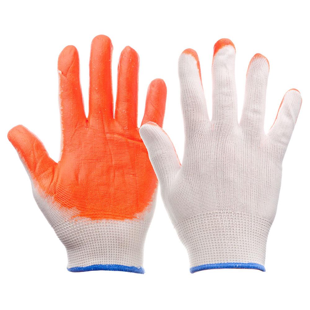 РОКОТ Перчатки рабочие нейлоновые с латексным полуобливом, 10 р-р, 23см